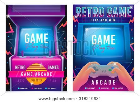 Retro Gaming, Game Of 80s-90s. Arcade Machine. Retro Arcade Game Machine. Play Time Poster, Flyer Te