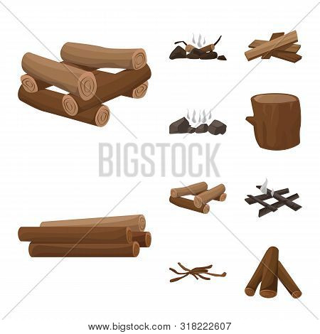 Vector Design Of Timber And Nature Symbol. Collection Of Timber And Construction Stock Vector Illust