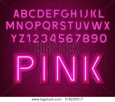 Neon Glowing Pink 3d Letters And Numbers.