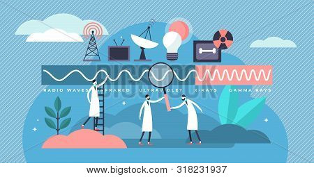 Electromagnetic Spectrum Vector Illustration. Flat Tiny Frequencies Range Persons Concept. Education