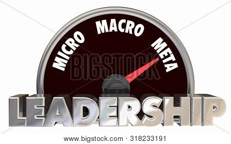 Leadership Models Micro Macro Meta Speedometer 3d Illustration