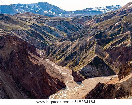 Landmannalaugar National Park - Iceland. Rainbow Mountains. Aerial view of beautiful colorful volcanic mountains. Top view. Picture made by drone from above. poster