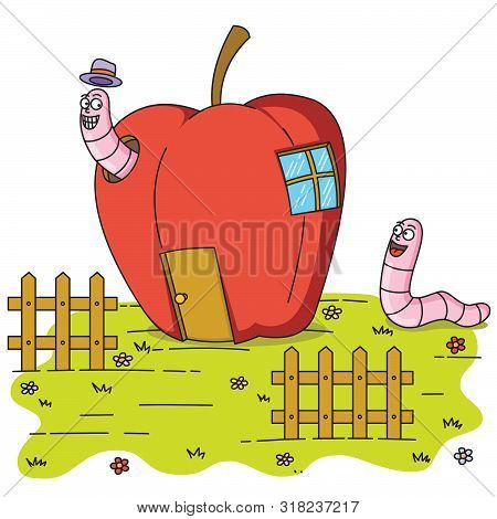 Illustration Of Two Worms Inside  An Apple House