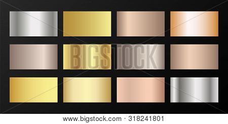 Metallic gradients vector set: silver, platinum, bronze, rose gold. Smooth chrome, alloy, aluminum, titanium, copper, silver, yellow and pink gold, platinum, steel, bronze background swatches. poster