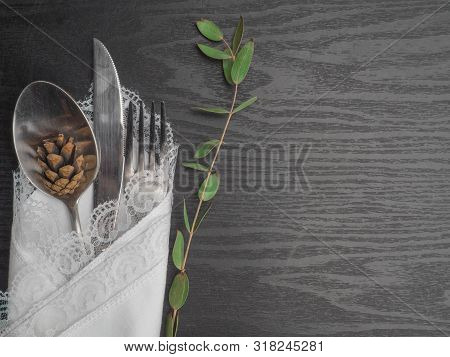 Traditional Christmas Table Place Setting. Festive Place Setting For New Year Dinner. Beautiful Cutl