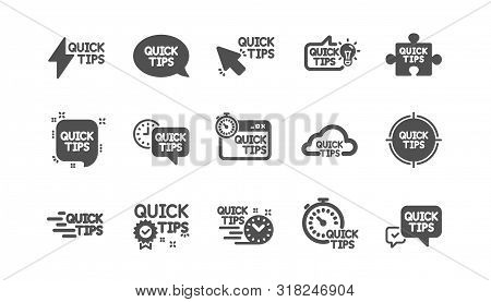Quick Tips Icons. Helpful Tricks, Solution And Quickstart Guide. Tutorial Classic Icon Set. Quality