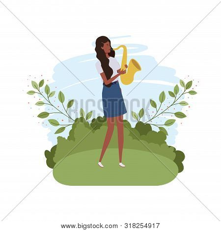Woman With Saxophone And Branches And Leaves In The Background Vector Illustration Design