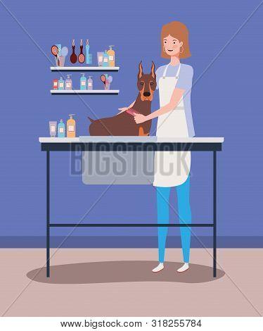 Cute Doberman Dog Care Salon With Girl Vector Illustration Design