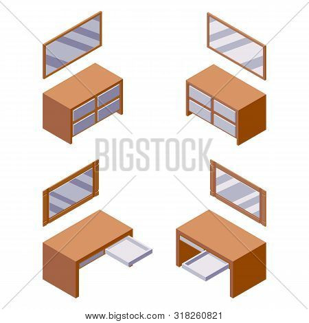 Vector Isometric Furniture Collection Good For Hotel Or Interior Room Scene. Isolated On White Mirro