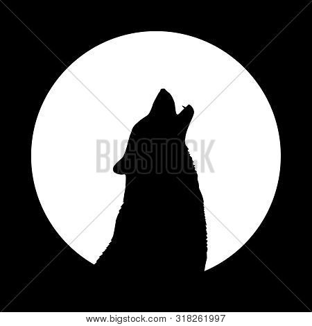 Wolf Howls On The Moon. Wolf Mascot. Isolated Symbol. Logo Design. Vector Illustration.