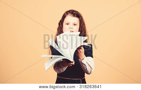 Schoolgirl Adorable Child. Childhood And Upbringing. Knowledge And Information. Small Kid Study. Sch
