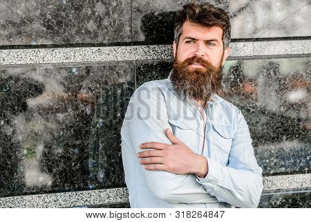 Guy Masculine Appearance With Long Beard. Barber Concept. Beard Grooming. Beard Care. Man Attractive