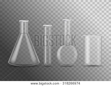 Realistic Detailed 3d Empty Chemical Glass Flasks Set Tube And Beaker For Research, Experiment. Vect