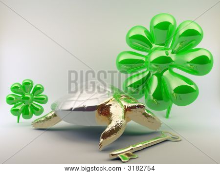 Turtle With Gold Key