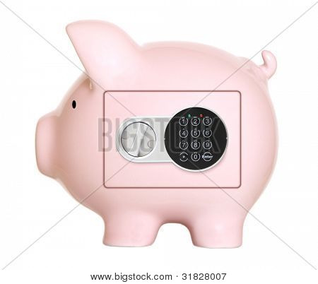 Pink piggy bank safe