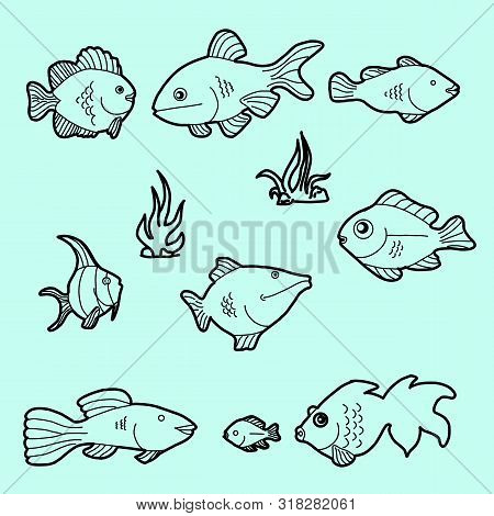 Hand Drawn Ocean Or Sea And River Ten Fishes Set. A Collection Of Salmon And Tuna Or Pike And Anchov