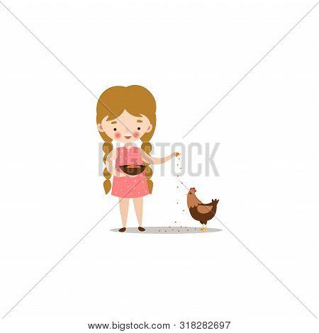 Cute Little Girl Feeding Chicken With Birdseed. Raster Illustration In Flat Cartoon Style
