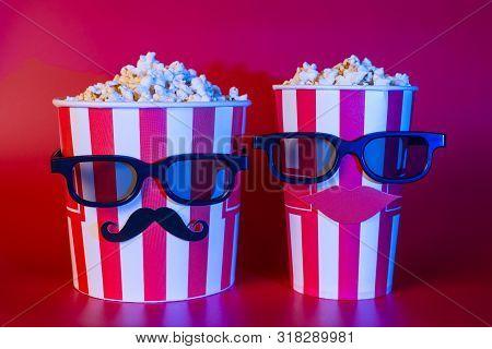 Premiere Night Blockbuster Trailer Advert Concept. Photo Of Two Best Buddies Enjoying Nice Interesti