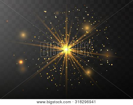 The Yellow Glowing Light Explodes With A Blast With A Transparent One. Vector Illustration For Perfe
