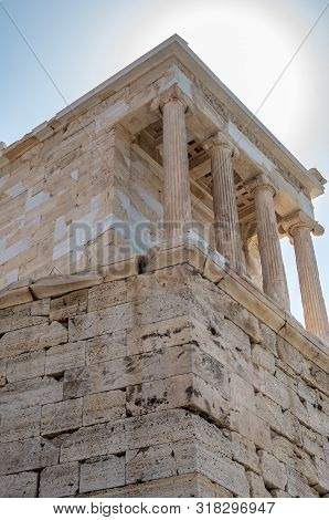 Temple Of Athena Nike On The Acropolis Of Athens Seen From Below, Greece