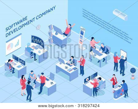 Programmers Of Software Development Company During Work In Office Isometric Horizontal Vector Illust