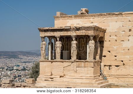 Caryatids In Erechtheum From Athenian Acropolis,greece Temple