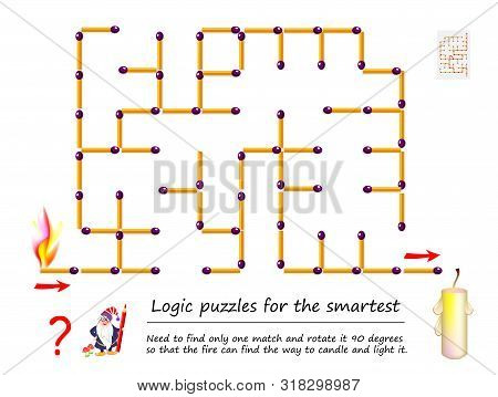 Logical Puzzle Game With Labyrinth For Children. Need To Find Only One Match And Rotate It 90 Degree