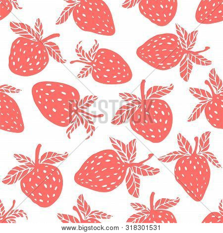Berries Fruit Vector Strawberry With Leaves Seamless Pattern For Textile Prints, Cards, Design. Flat