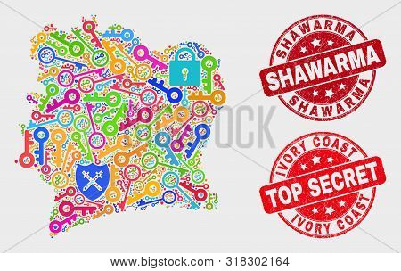 Secure Ivory Coast Map And Seal Stamps. Red Rounded Top Secret And Shawarma Distress Seal Stamps. Co