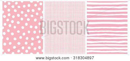 Hand Drawn Childish Style Vector Pattern Set. White Horizontal Stripes On A Pink Background. White G