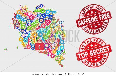 Passkey Ko Pha Ngan Map And Stamps. Red Round Top Secret And Caffeine Free Grunge Stamps. Bright Ko