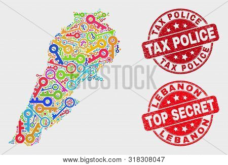 Privacy Lebanon Map And Stamps. Red Rounded Top Secret And Tax Police Textured Seal Stamps. Colorful