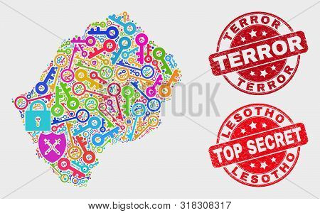 Passkey Lesotho Map And Seal Stamps. Red Round Top Secret And Terror Distress Seal Stamps. Bright Le