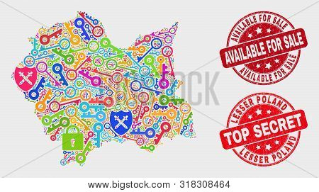 Safeguard Lesser Poland Voivodeship Map And Seals. Red Rounded Top Secret And Available For Sale Dis