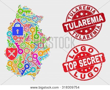 Passkey Lugo Province Map And Seals. Red Round Top Secret And Tularemia Grunge Seals. Colored Lugo P