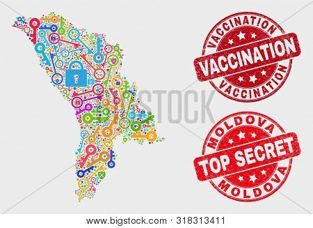 Safeguard Moldova Map And Stamps. Red Rounded Top Secret And Vaccination Grunge Stamps. Colored Mold