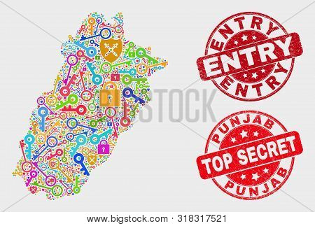 Firewall Punjab Province Map And Seal Stamps. Red Rounded Top Secret And Entry Textured Stamps. Colo
