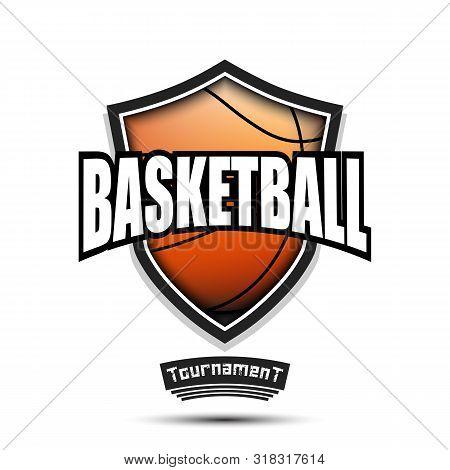 Basketball Logo Design Template. Basketball Emblem Pattern. Basketball Ball And Shield With Vintage