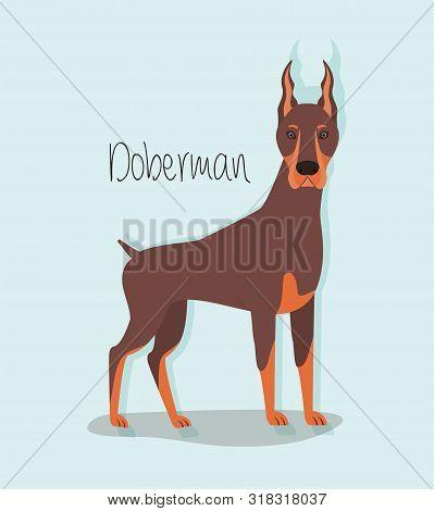 Cute Doberman Dog Pet Character Vector Illustration Design