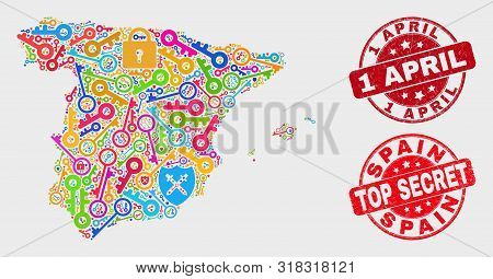 Passkey Spain Map And Seal Stamps. Red Rounded Top Secret And 1 April Grunge Seal Stamps. Colorful S