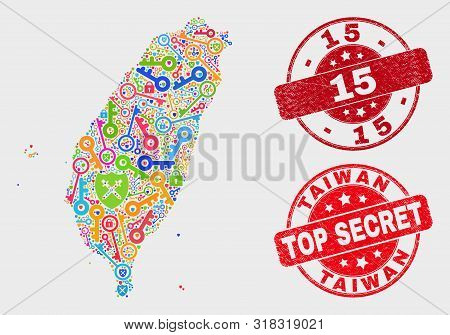 Privacy Taiwan Map And Seal Stamps. Red Round Top Secret And 15 Textured Seal Stamps. Bright Taiwan
