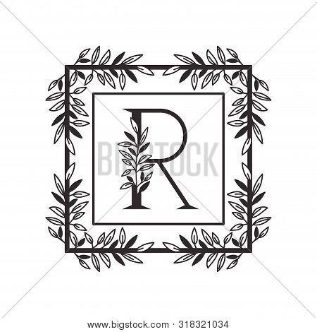Letter R Of The Alphabet With Vintage Style Frame Vector Illustration Design