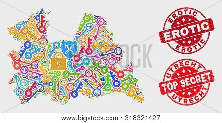 Security Utrecht Province Map And Stamps. Red Rounded Top Secret And Erotic Grunge Seals. Bright Utr