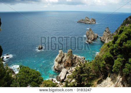View Of Cliffside Coastline On Greek Island
