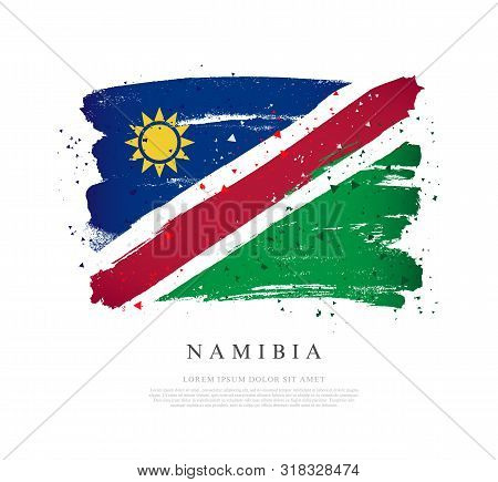 Flag Of Namibia. Vector Illustration On A White Background. Brush Strokes Are Drawn By Hand. Indepen