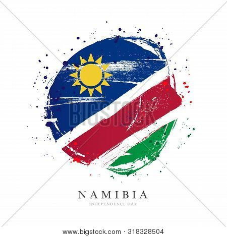 Namibia Flag In The Shape Of A Big Circle. Vector Illustration On A White Background. Brush Strokes