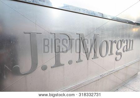 London England - June 2, 2019: Jp Morgan Company Sign Docklands London.