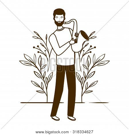 Silhouette Of Man With Saxophone And Branches And Leaves In The Background Vector Illustration Desig