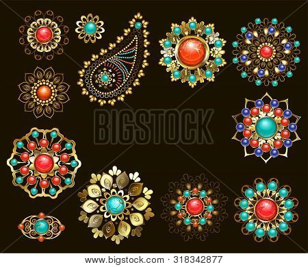 Set Of Jewelry Ethnic Brooches Adorned With Jasper, Turquoise And Lapis Lazuli. Jewelery In Boho Sty