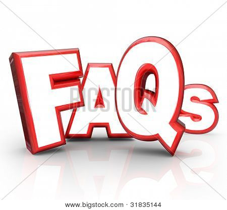 The letters FAQs standing for Frequently Asked Questions in 3D lettering representing question and answer period or forum to get you the solution and help you need for a problem or confusion